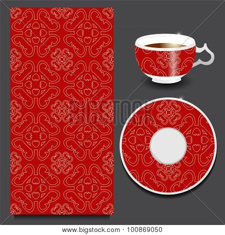 Vector Seamless Floral Orient Or Armenia Pattern With Cup And Plate. Stock