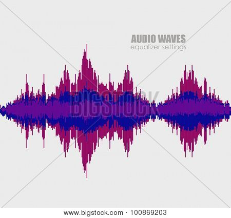 Set sound waves . Audio equalizer technology, pulse musical. Cover for the album or music track. Vector illustration eps10