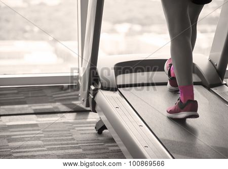 Woman Workout On Treadmil Split-tone  With Sepia