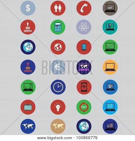 set of icons with bisiness elements in flat design