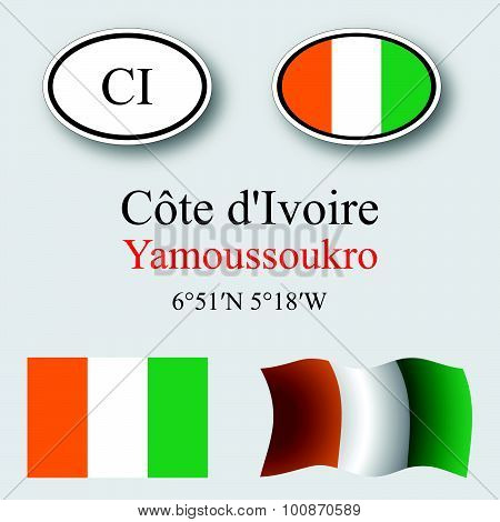 Cote D'ivoire Icons Set