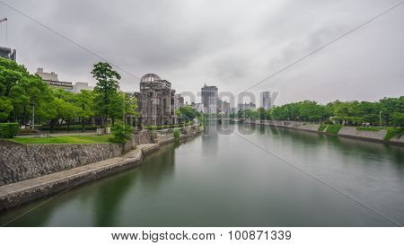 Hiroshima Bomb Dome and river in Japan.