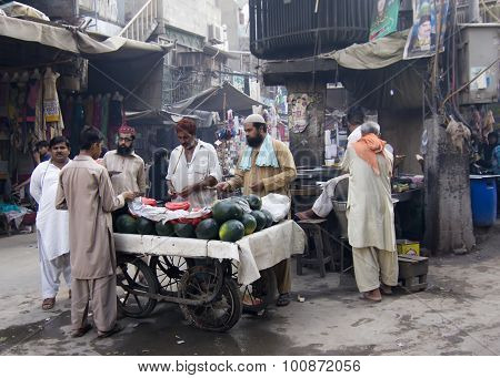 Watermelon vendors at Anarkali bazaar