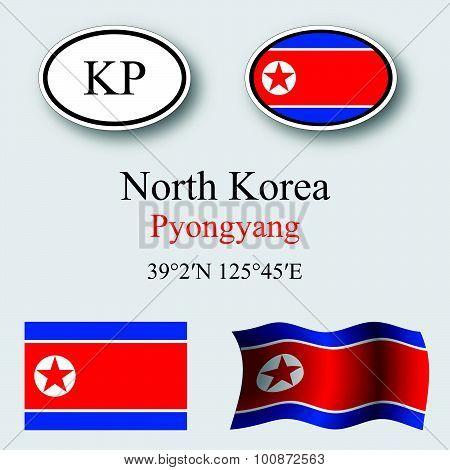 North Korea Icons Set