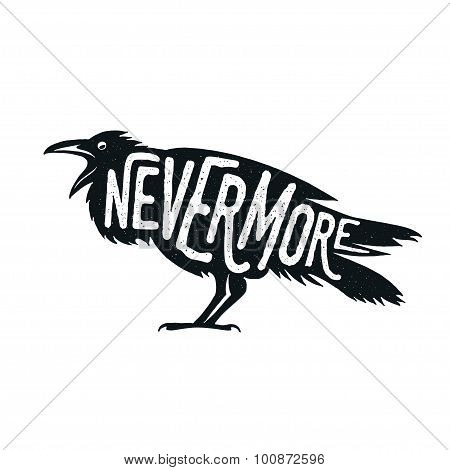 Raven illustration with word Nevermore.