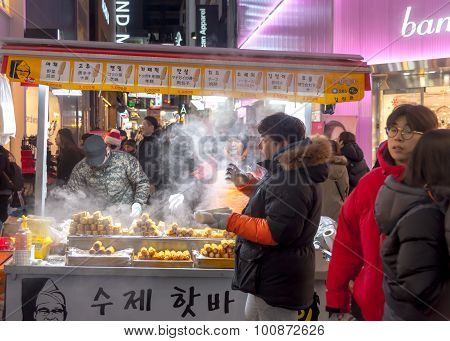 Traditional Korean Street Food   In South Korea.
