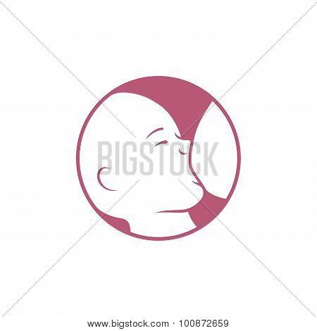 Breast feeding vector sign.