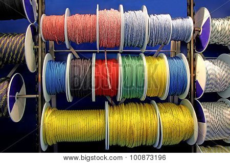 Collection Of Various Ropes, Coiled On Reels