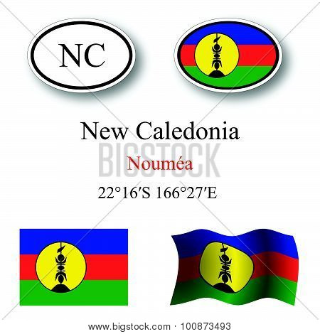 New Caledonia Icons Set