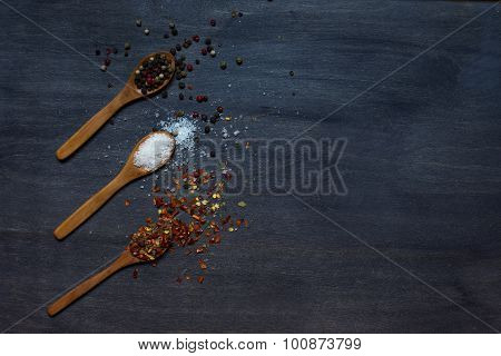 Wooden Spoons With Condiment