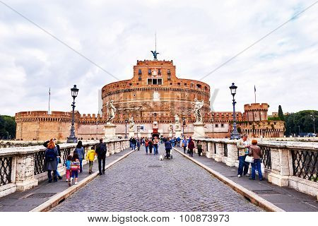 Rome, Italy - October 29: View Of Castel Sant'angelo, Museum In Rome, From Bridge Ponte Sant'angelo