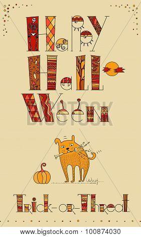 Doodle Design For Halloween Card
