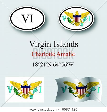 Virgin Islands Icons Set