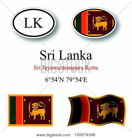 Sri Lanka Icons Set