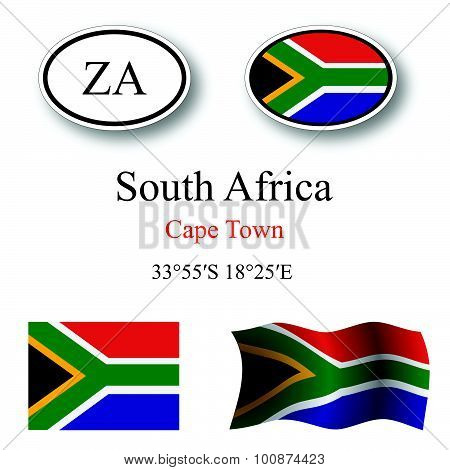 South Africa Icons Set