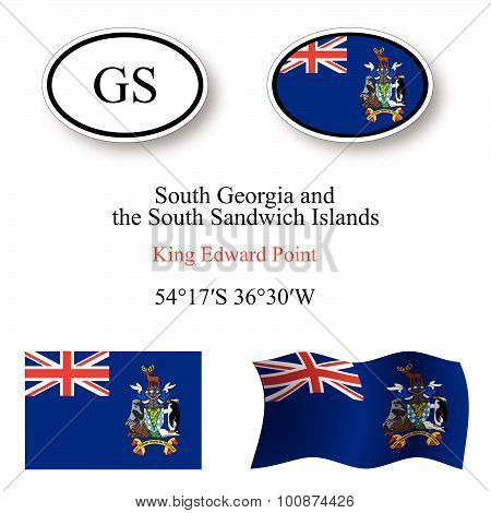 South Georgia And South Sandwich Islands Icons Set