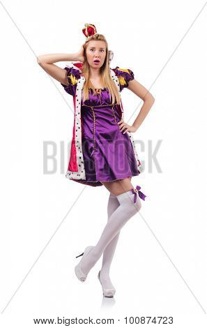Cute girl in purple masquerade dress and crown isolated on white