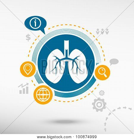 Lung Icon And Creative Design Elements