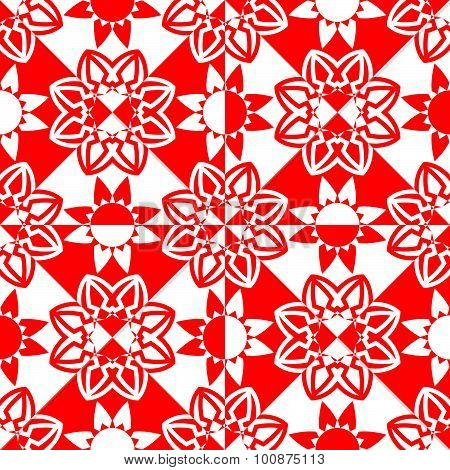 Red White Flowers Pattern