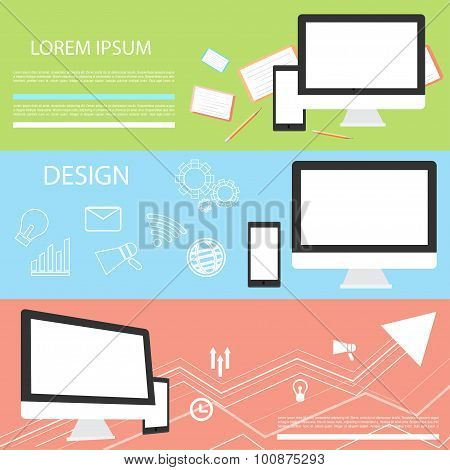 Vector set of creative business concepts. Modern flat design elements for applications, web banners