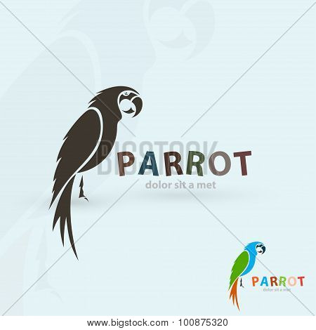 Artistic stylized parrot icon. Silhouette birds. Creative art design. Vector illustration.