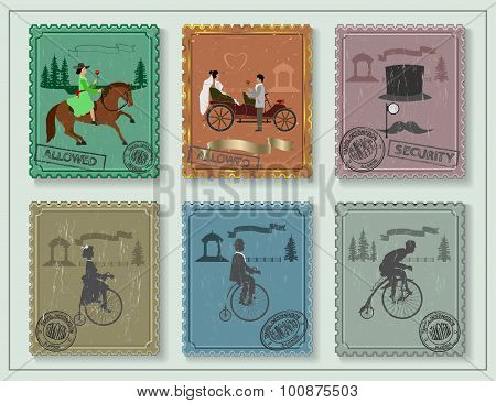 vintage stamps for your cards on the green table