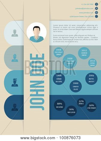Modern Cv Curriculum Vitae Resume Template In Blue Shades