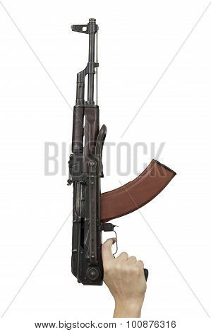Man Hand Holding Machine Gun Isolated Over White