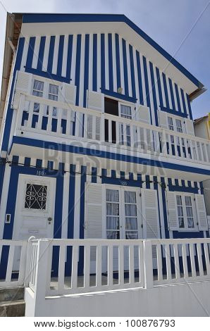 Blue Coloured Stripes House