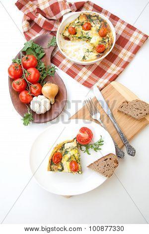 One Piece Of Kale Tomato Frittata