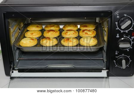 Egg Tarts Just Finish Baking And About To Be Taken Out In The Oven