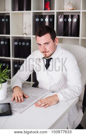doctor working open posture in office