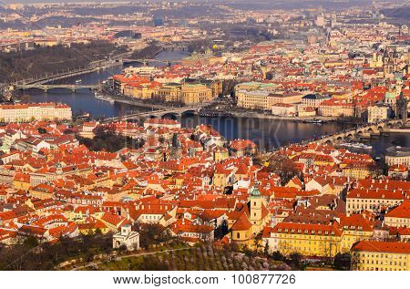 panoramic view on Charles bridge and Prague old town from above, Czech Republic