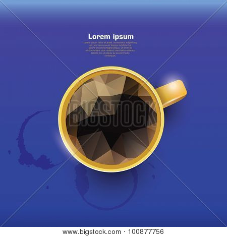 Abstract banner with polygon coffe. Cup of coffee. Coffee cup stains
