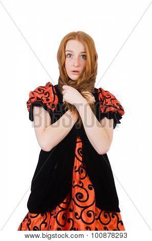 Red hair girl in orange dress isolated on white