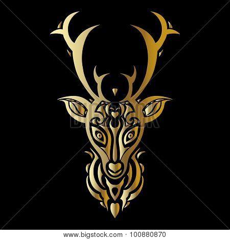 Deer head. Polynesian tattoo style