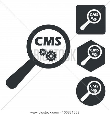 CMS search icon set, monochrome