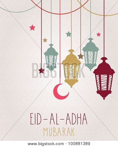 Eid Al Adha mubarak greeting card. Hanging colorful lantern