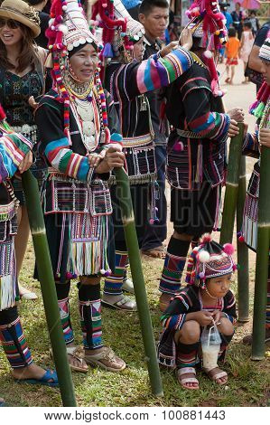 Dancing waiting Hill Tribe Dancing In Akha Swing Festival.