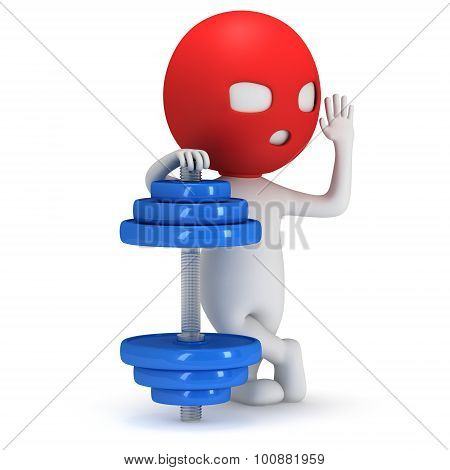 3D Man In Mask With Blue Dumbbell