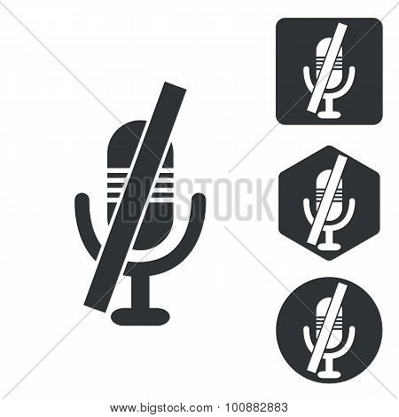 Muted microphone icon set, monochrome
