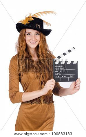 Girl in hat holding clapperboard isolated on white