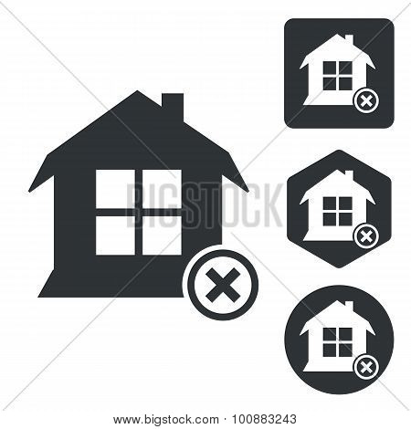 Remove house icon set, monochrome