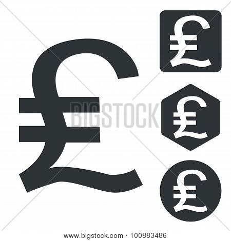 Pound sterling icon set, monochrome