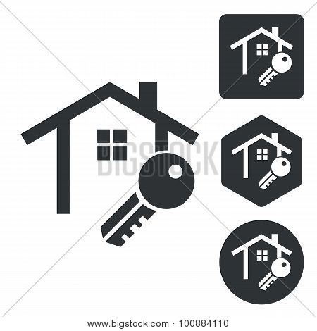 House key icon set, monochrome