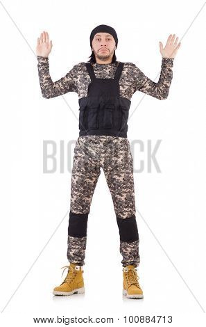 Caucasian soldier isolated on white