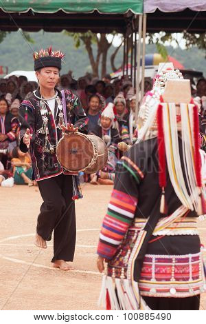 Hill Tribe Dancing In Akha Swing Festival.