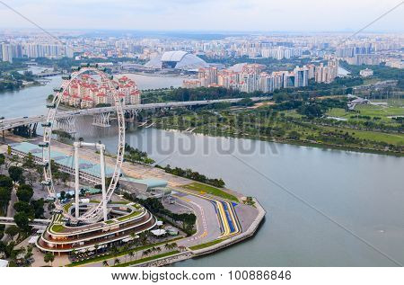 view of Singapore downtown from above