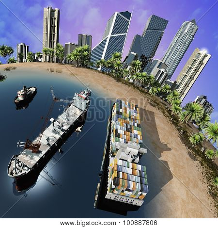 Cargo  tanker and city on earth model.