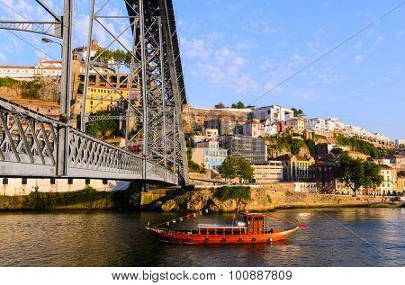view of Dom Luis I bridge in Porto, Portugal